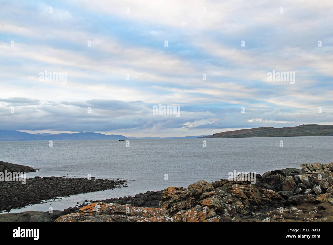 Firth of Clyde at Portencross with Arran and Little Cumbrae beyond, West Kilbride, North Ayrshire, Scotland, Great - Stock Image