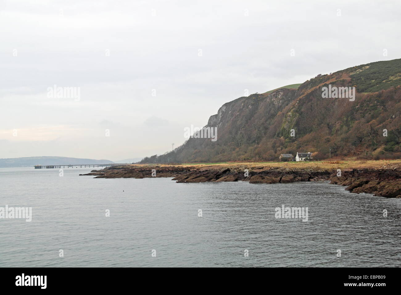 Portencross with Hunterston B pier and Great Cumbrae beyond, West Kilbride, North Ayrshire, Scotland, Great Britain, - Stock Image