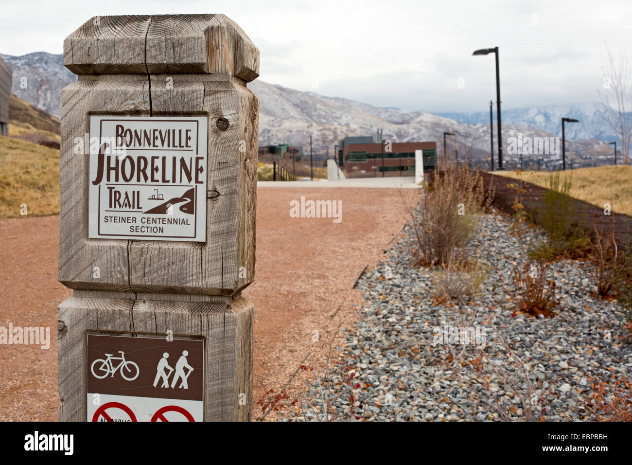 Salt Lake City, Utah - The Bonneville Shoreline Trail on east side of Salt Lake City as it passes the University Stock Photo