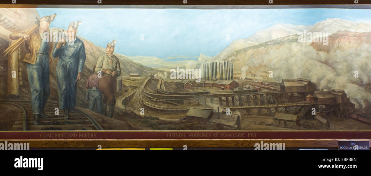 Price, Utah - A section of a painting in the Price Municipal Building that depicts the history of Carbon County. Stock Photo