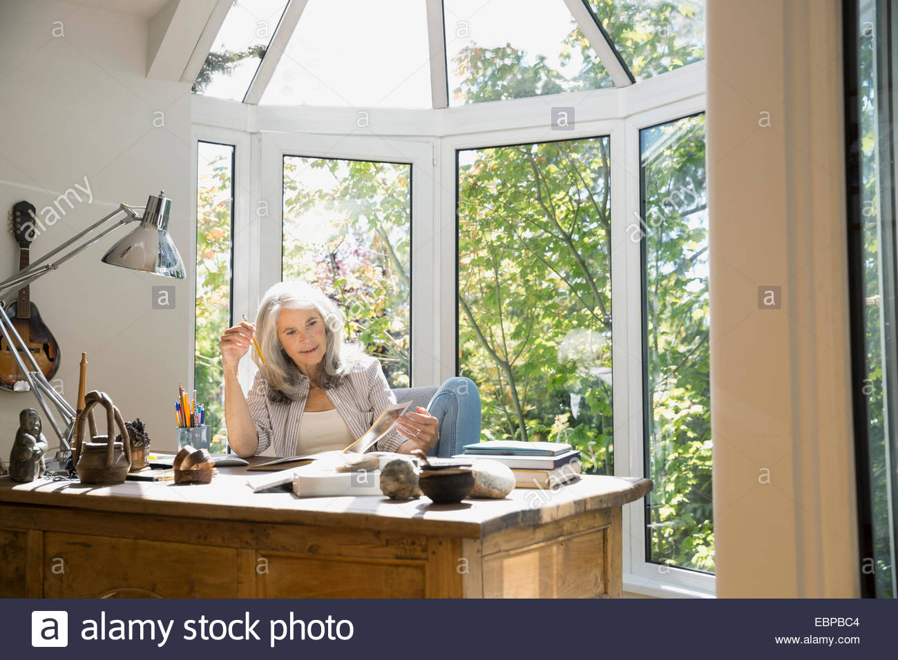 Senior woman reading book in home office - Stock Image
