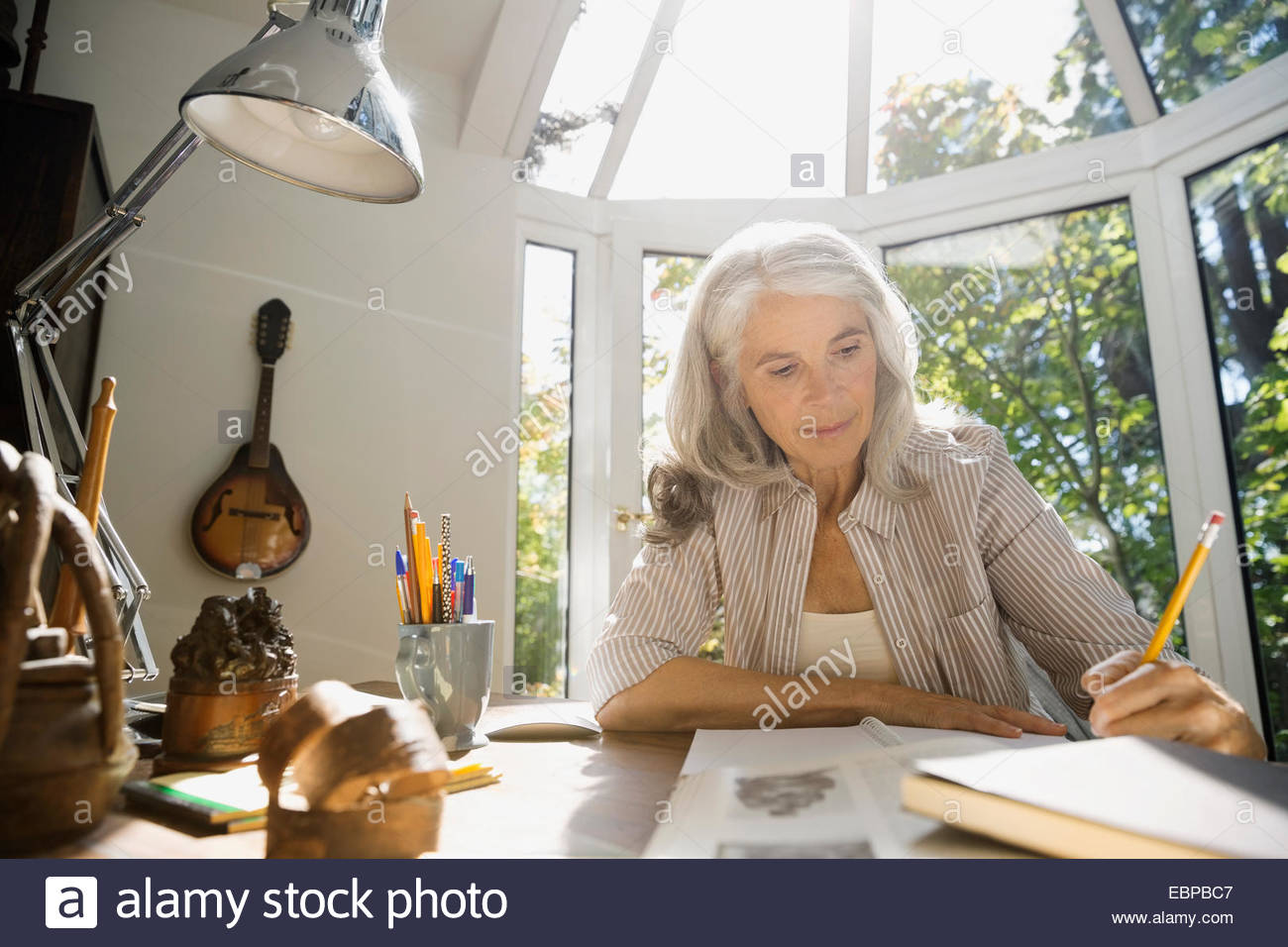 Senior woman writing in home office - Stock Image