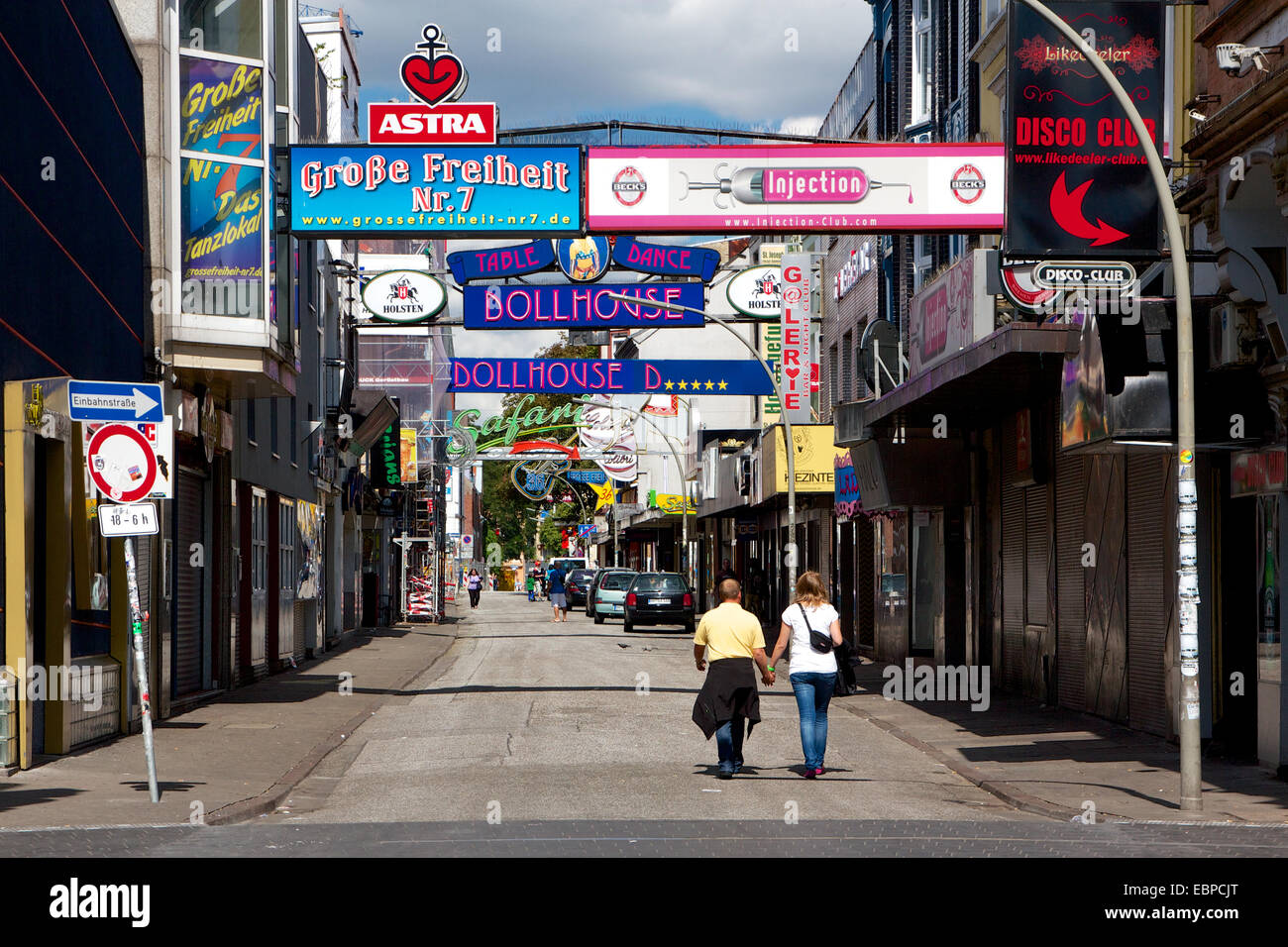 Infamous red light district street Grosse Freiheit in the St. Pauli area of Hamburg, Germany during the day. - Stock Image
