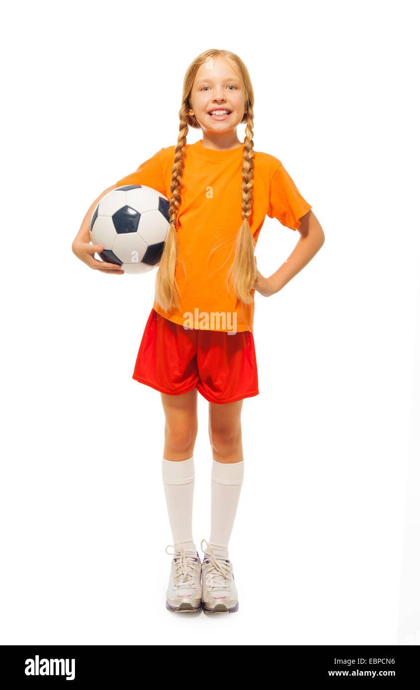 83743239f Little blond girl holding soccer ball isolated Stock Photo  76095634 ...