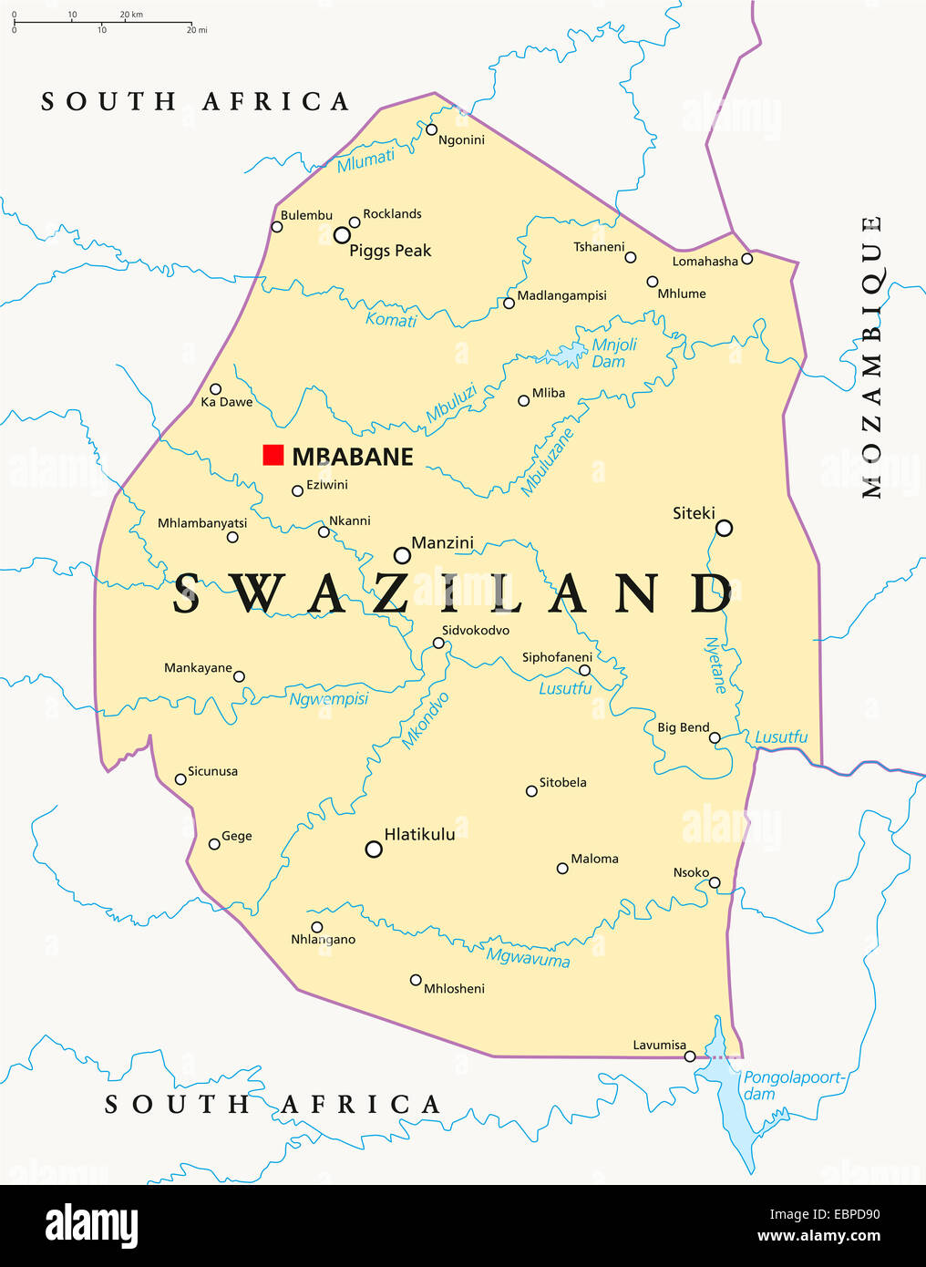 Swaziland Political Map with capital Mbabane national borders Stock