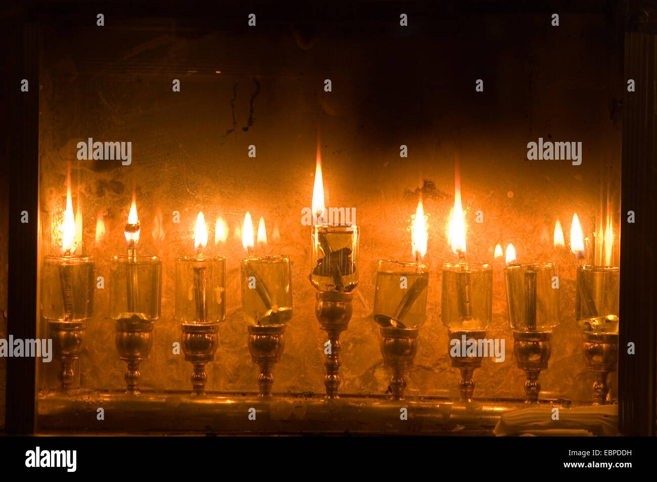 Hannukah Candles, Israel - Stock Image