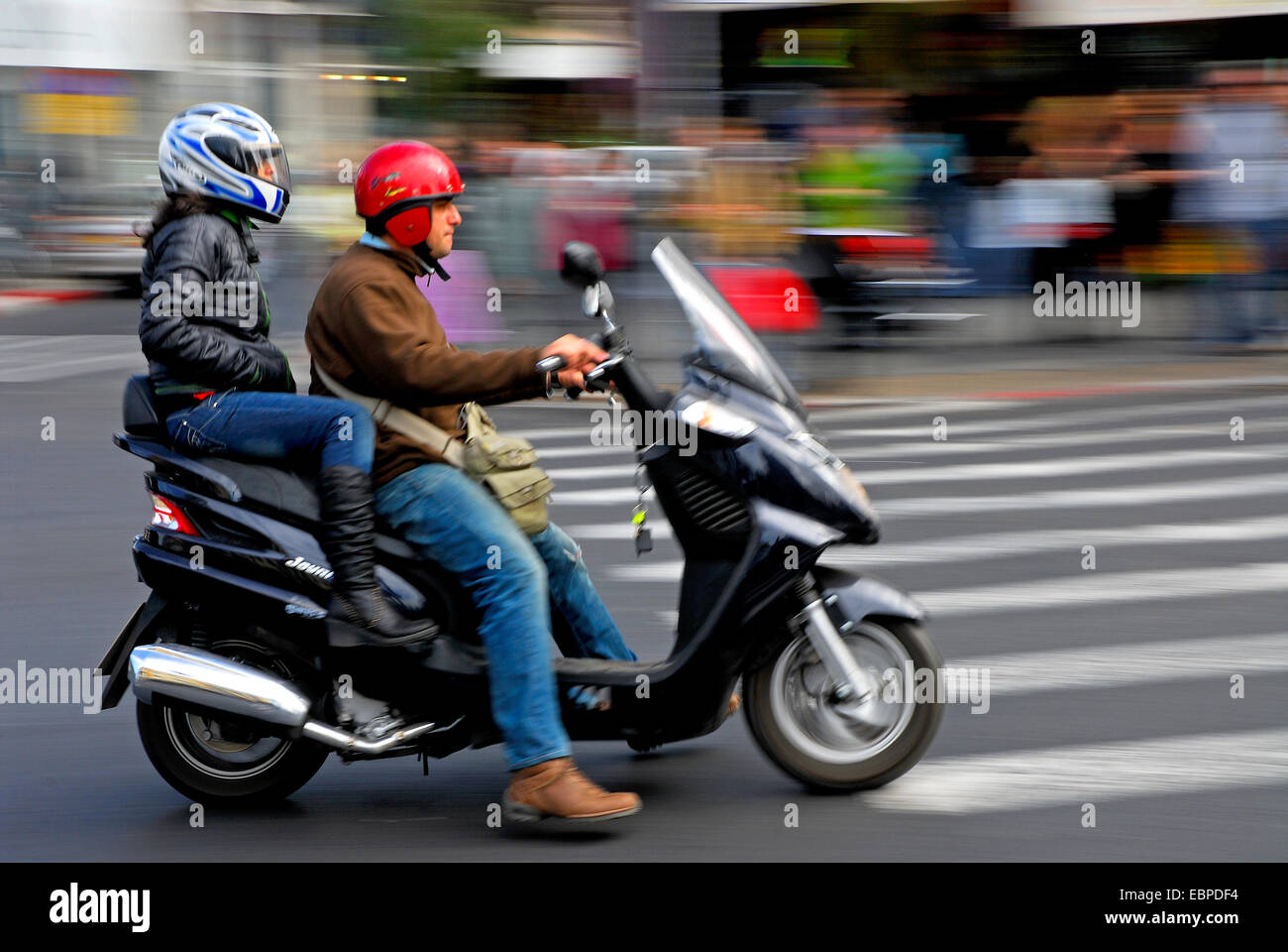 Motorcycle in Tel Aviv, Israel - Stock Image