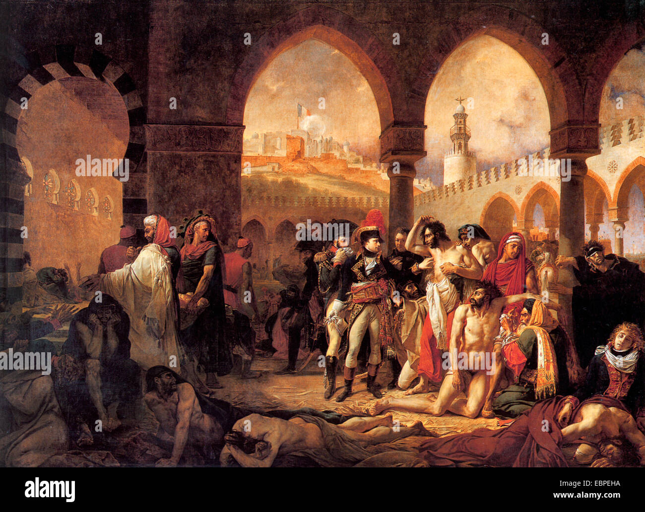 Napoleon visiting the plague victims of Jaffa, by Antoine Jean Gros - Stock Image
