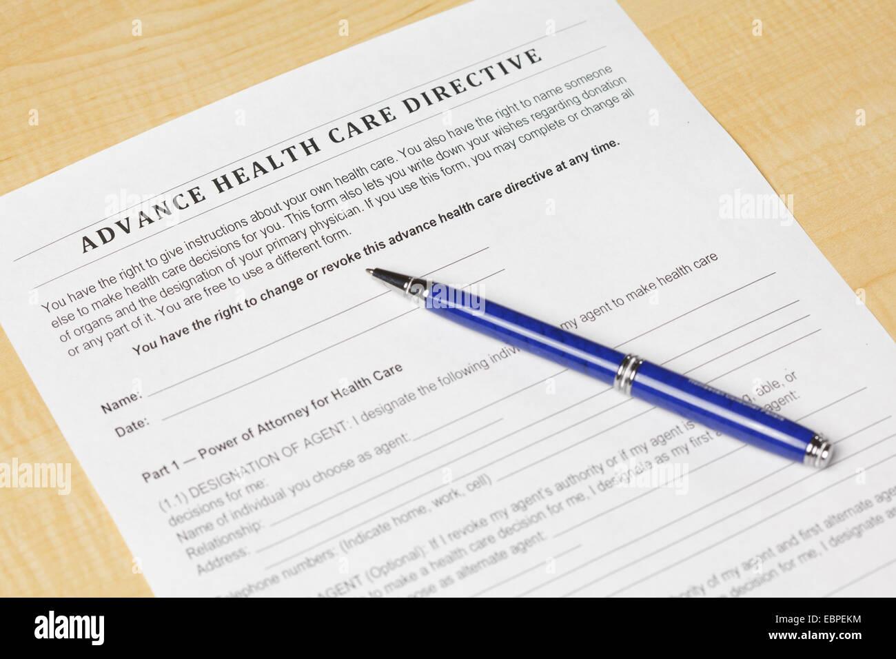 Advance Health Care Directive - Stock Image