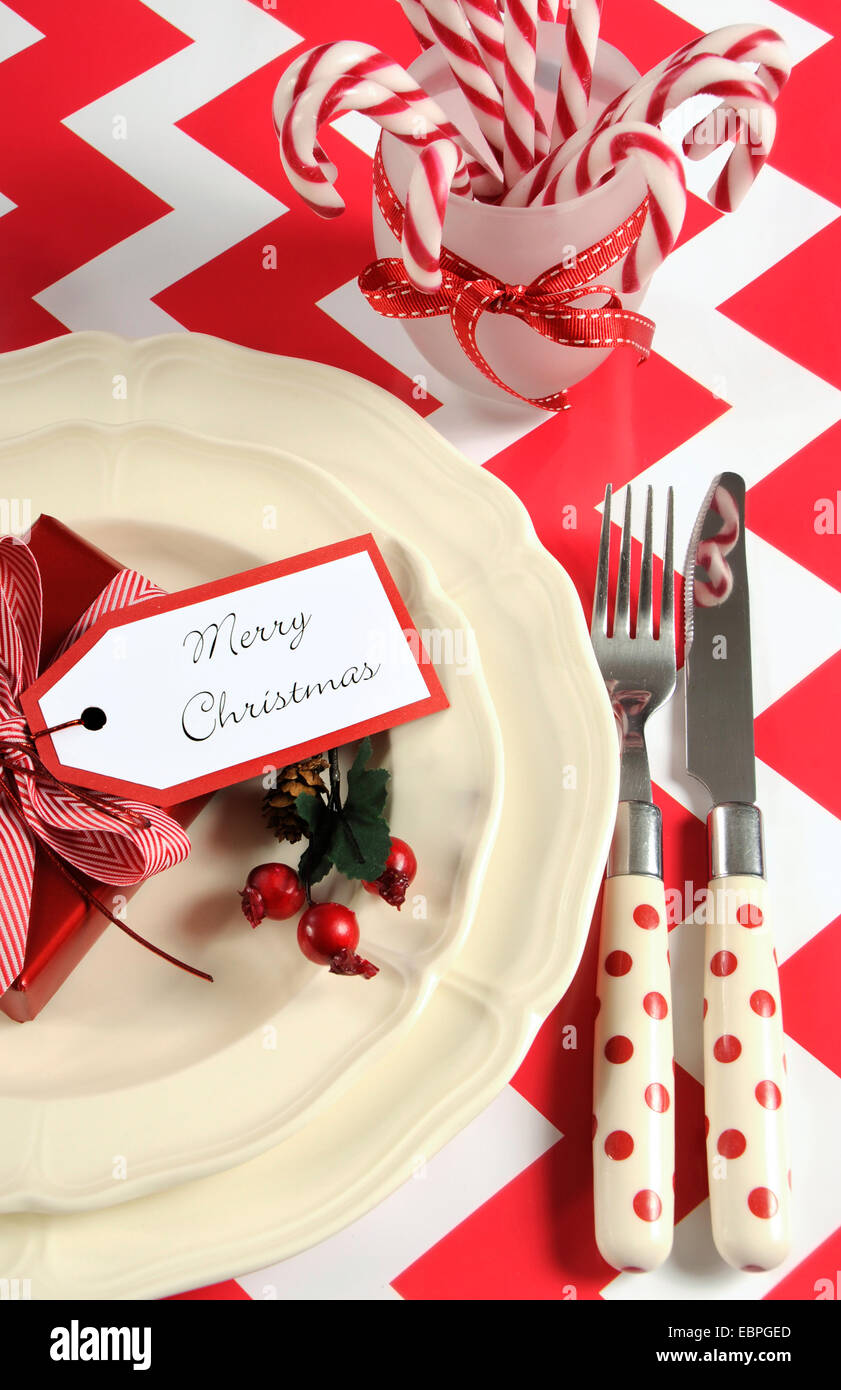 Bright colorful modern Christmas children family party table place ...