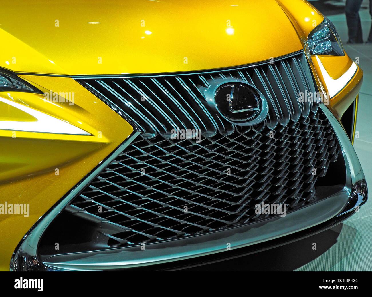 Front Grille Detail Yellow Lexus Concept Car Stock Photo 76099022