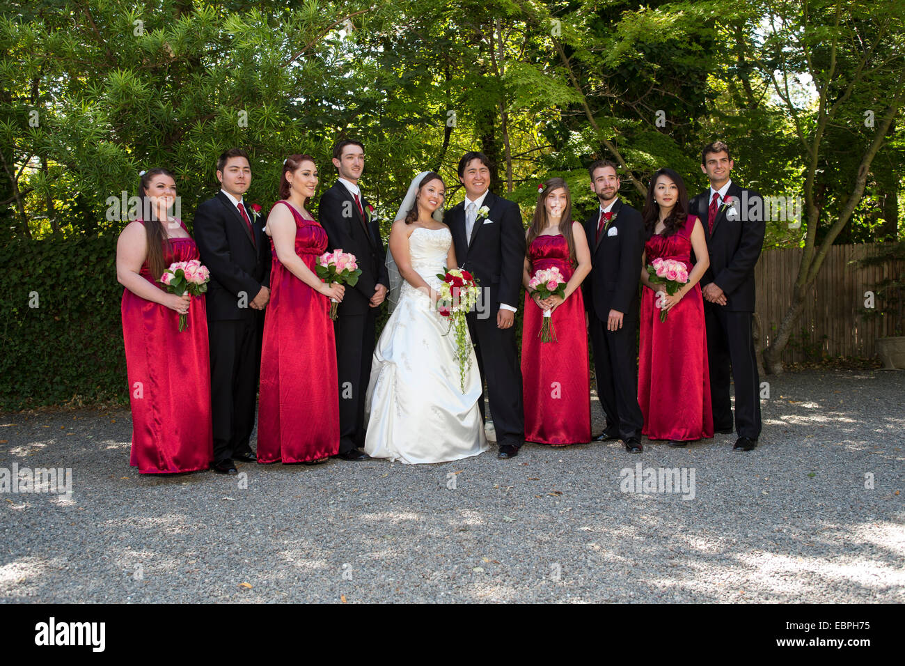 Bride and groom bridesmaids groomsmen at wedding at the Marin Art and Garden Center in the city of Ross in Marin Stock Photo