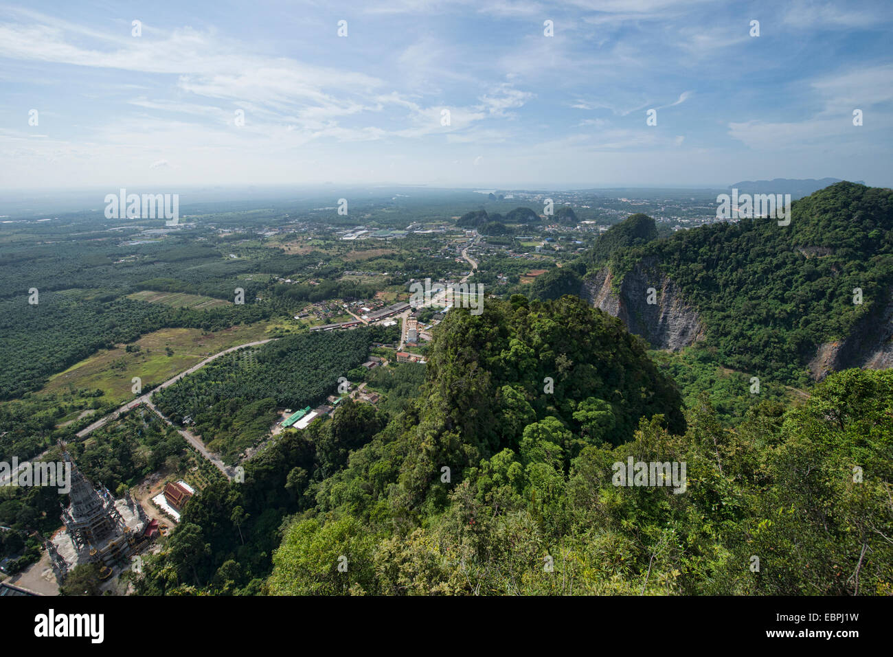 The view from the top of Wat Tham Sua Tiger Cave Temple in Krabi, Thailand - Stock Image