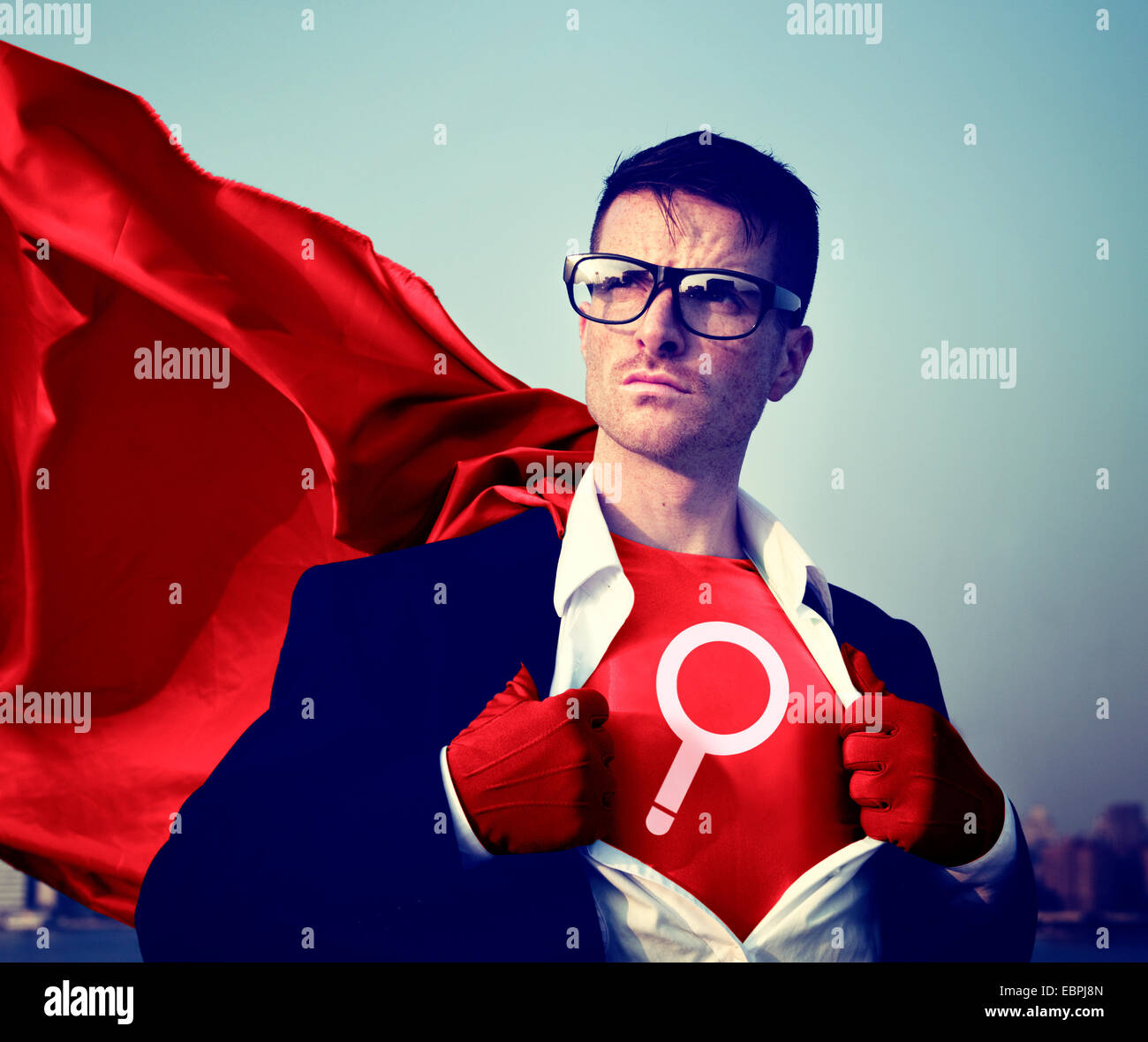 Magnifying Strong Superhero Success Professional Empowerment Stock Concept Stock Photo