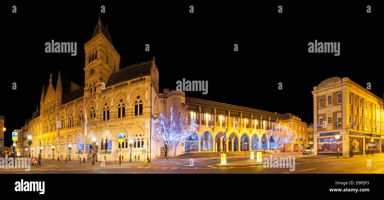 Guildhall Northampton early morning lite up. - Stock Image