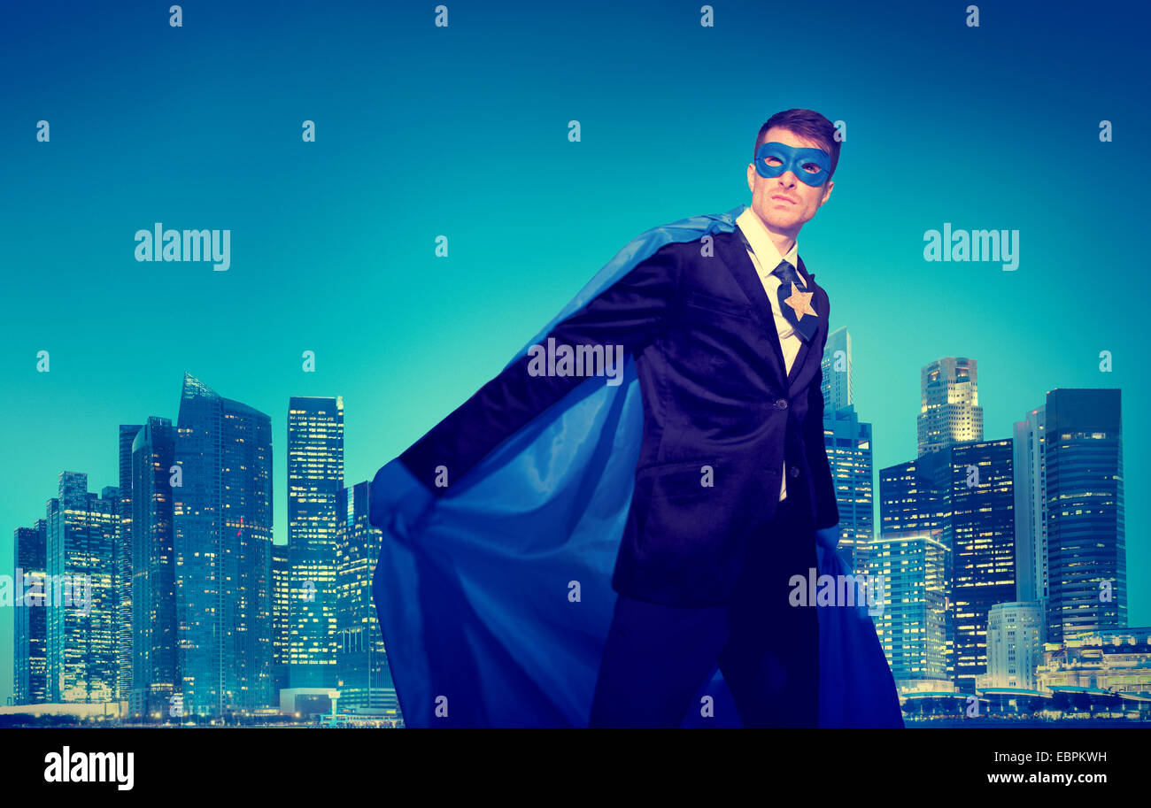 Strong Powerful Business Superhero Cityscape Concepts - Stock Image