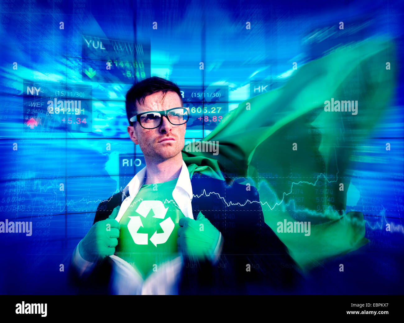 Recycle Strong Superhero Success Professional Empowerment Stock Concept - Stock Image