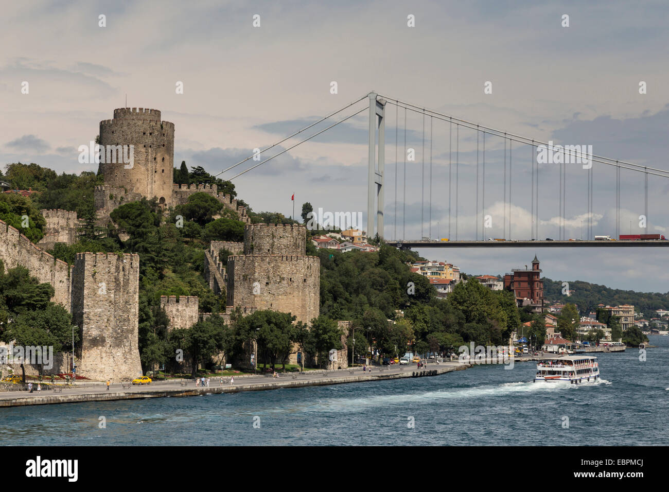 Rumeli Hisari (Fortress of Europe) and Fatih Sultan Mehmet Suspension Bridge, Hisarustu, Bosphorus Strait, Istanbul, - Stock Image
