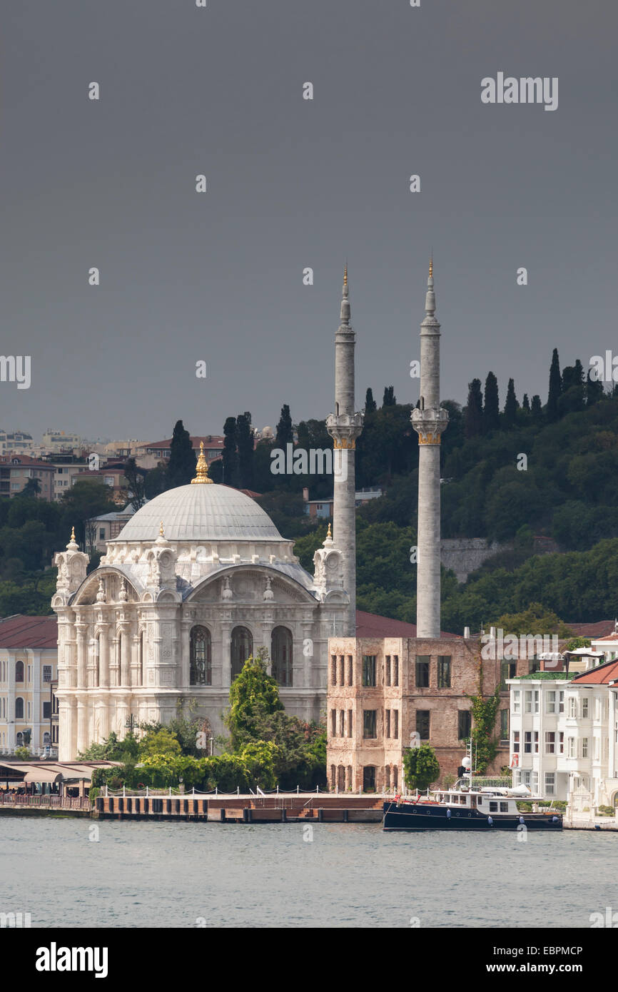 Ortakoy Mecidiye Mosque, Baroque mosque ordered by Sultan Abdul Mecit I, Ortakoy, from the Bosphorus Strait, Istanbul, - Stock Image