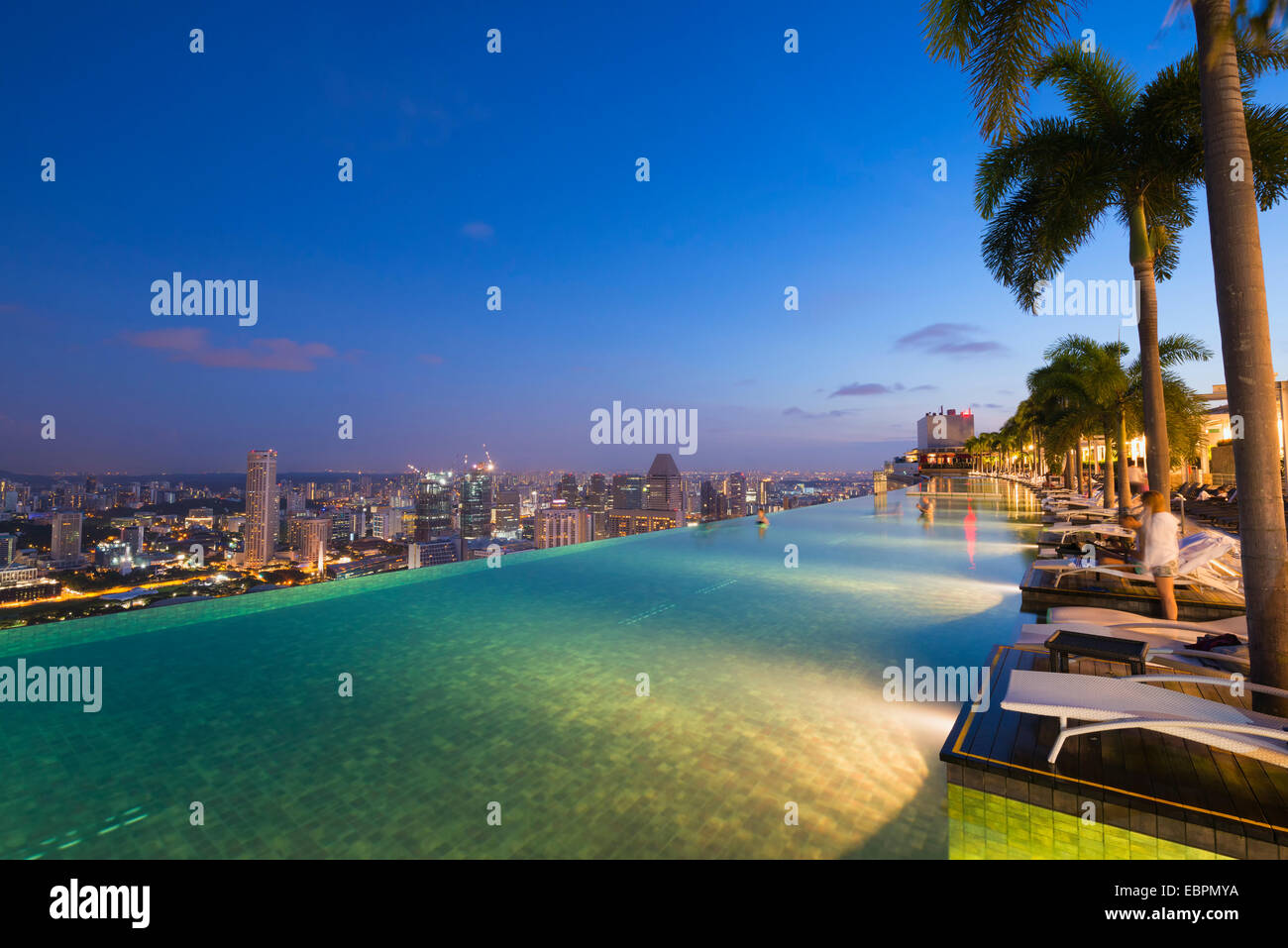 Infinity pool of the Marina Bay Sands, Singapore, Southeast Asia, Asia - Stock Image