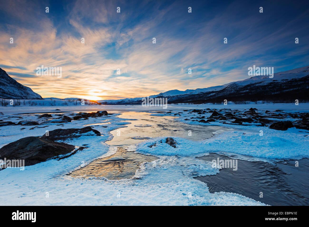 River, Abisko National Park, Helsinki, Finland, Scandinavia, Europe - Stock Image