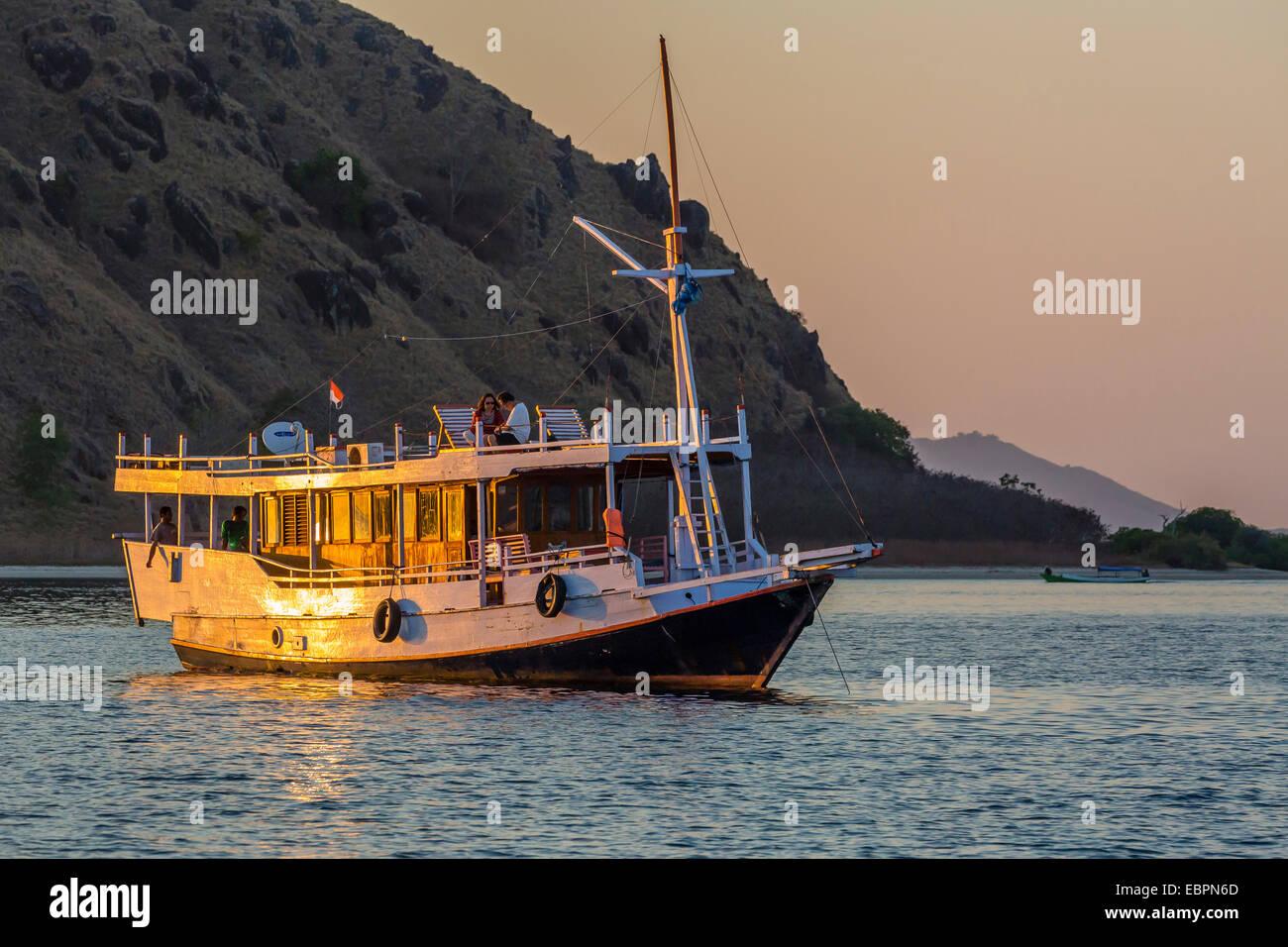 Typical Indonesia wooden boat, Sebayur Island, Komodo Island National Park, Indonesia, Southeast Asia, Asia Stock Photo