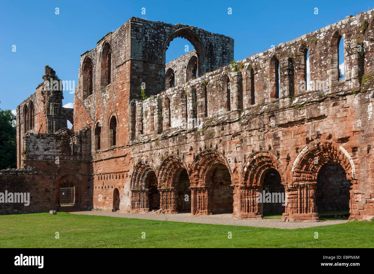 Elaborate carved stone arches, 12th century St. Mary of Furness Cistercian Abbey, Cumbria, England, United Kingdom, - Stock Image