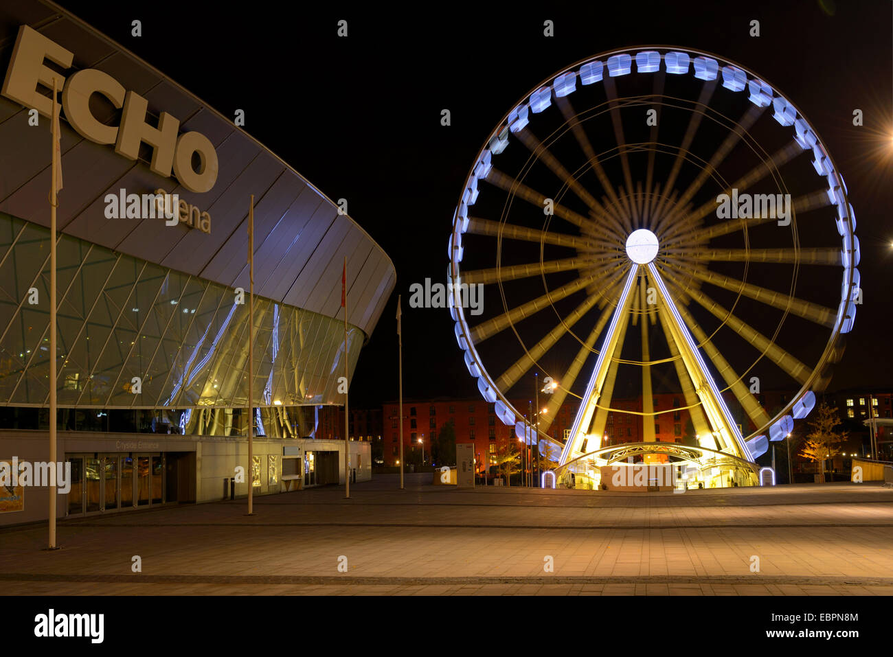 The Wheel of Liverpool and Echo Arena, Keel Wharf, Liverpool, Merseyside, England, United Kingdom, Europe - Stock Image