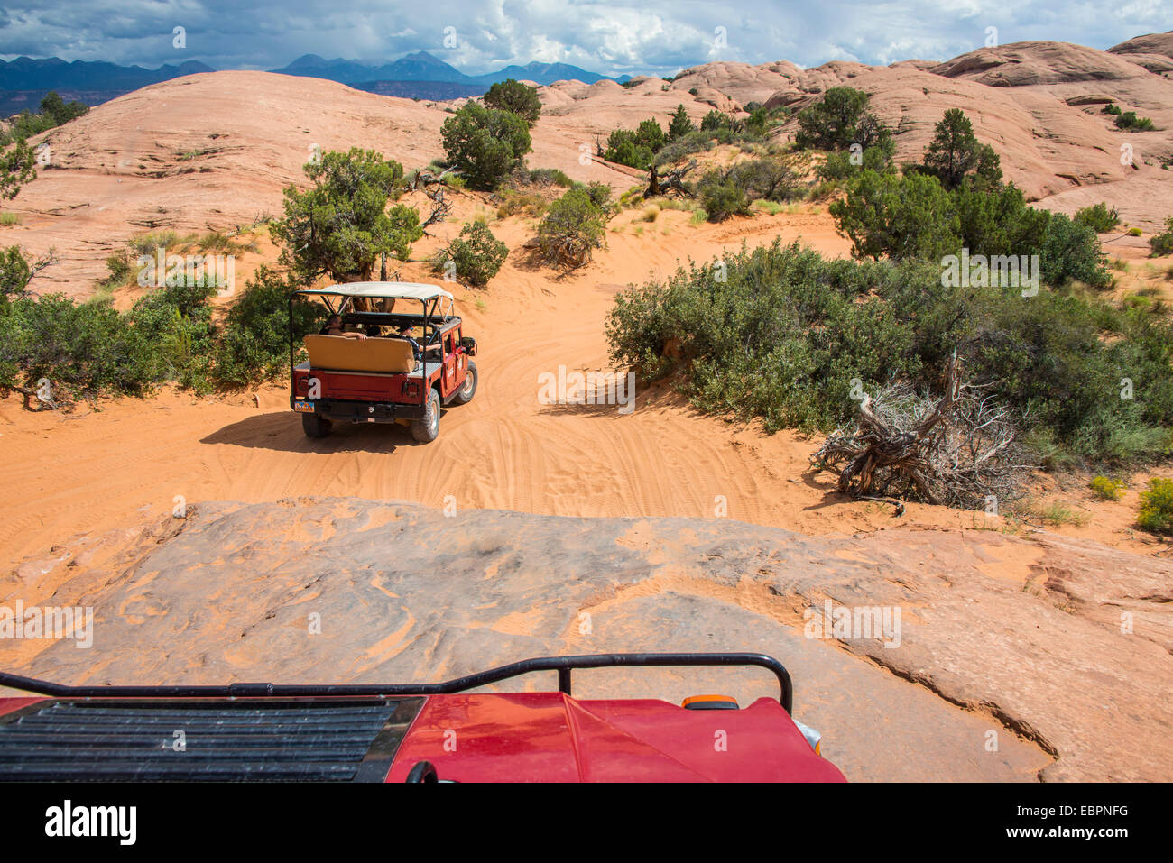Hummer driving on the Slickrock trail. Moab, Utah, United States of America, North America - Stock Image