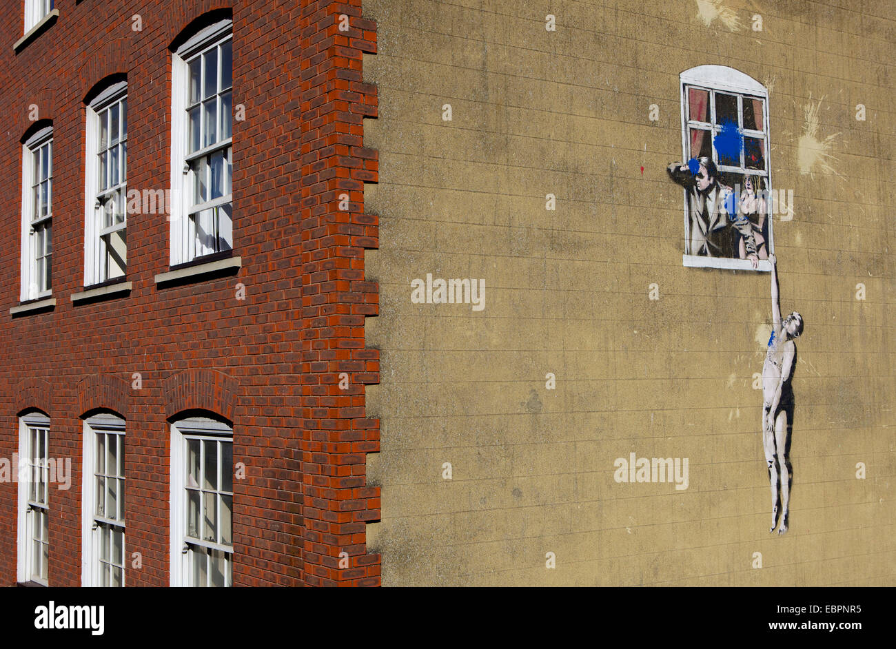 Adultery street art by the graffiti artist Banksy on Park Street in Bristol, England, United Kingdom, Europe - Stock Image