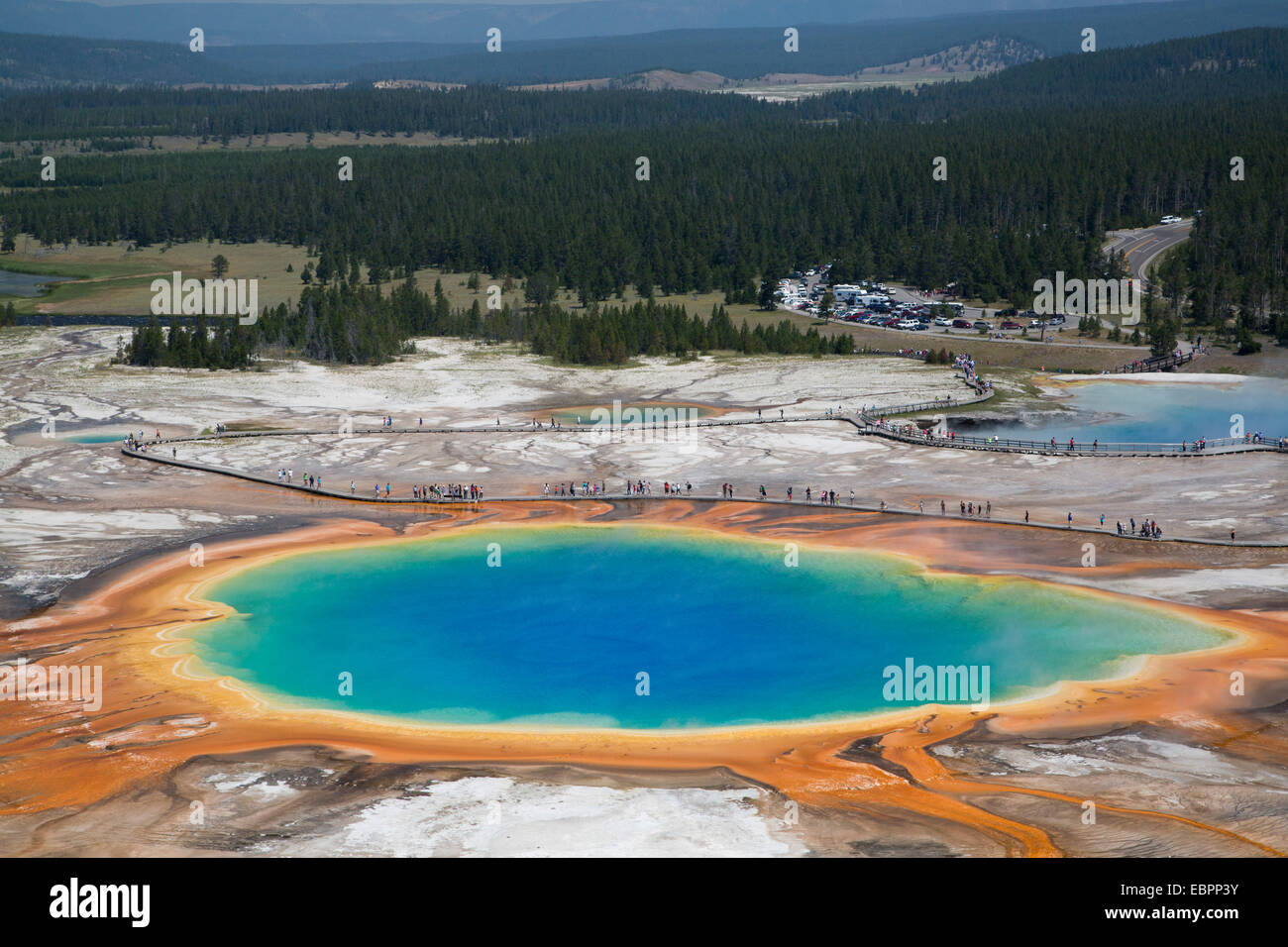 Grand Prismatic Spring, Midway Geyser Basin, Yellowstone National Park, UNESCO World Heritage Site, Wyoming, USA - Stock Image