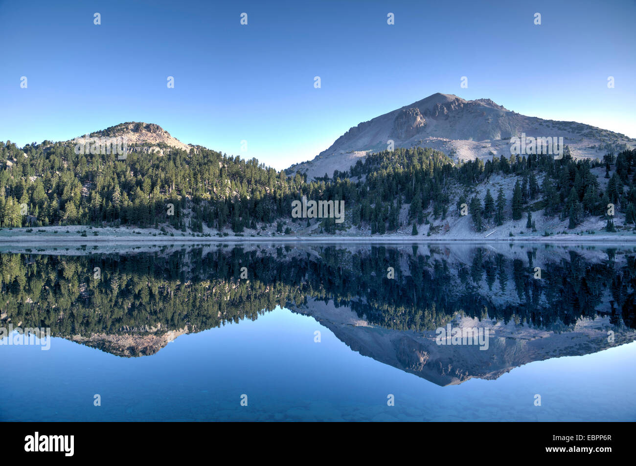 Lake Helen and Mount Lassen, 3187 meters, in the background, Lassen Volcanic National Park, California, United States - Stock Image