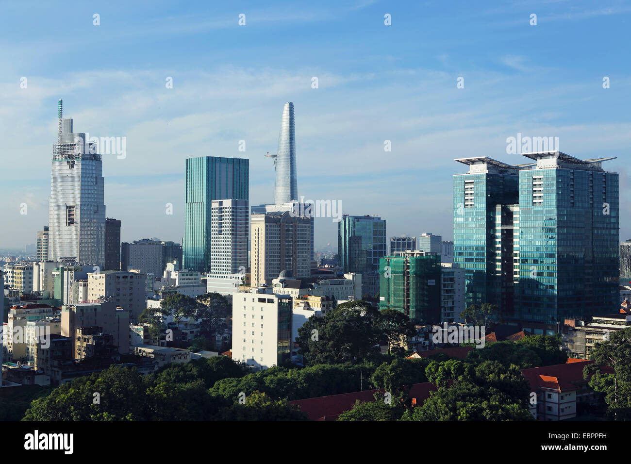 The skyline of the downtown area, including the Bitexco Tower, Ho Chi Minh City (Saigon), Vietnam, Indochina, Southeast - Stock Image