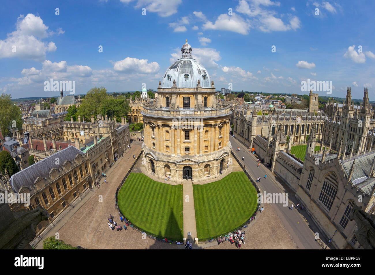Radcliffe Camera and All Souls College from University Church of St. Mary the Virgin, Oxford, Oxfordshire, England, - Stock Image