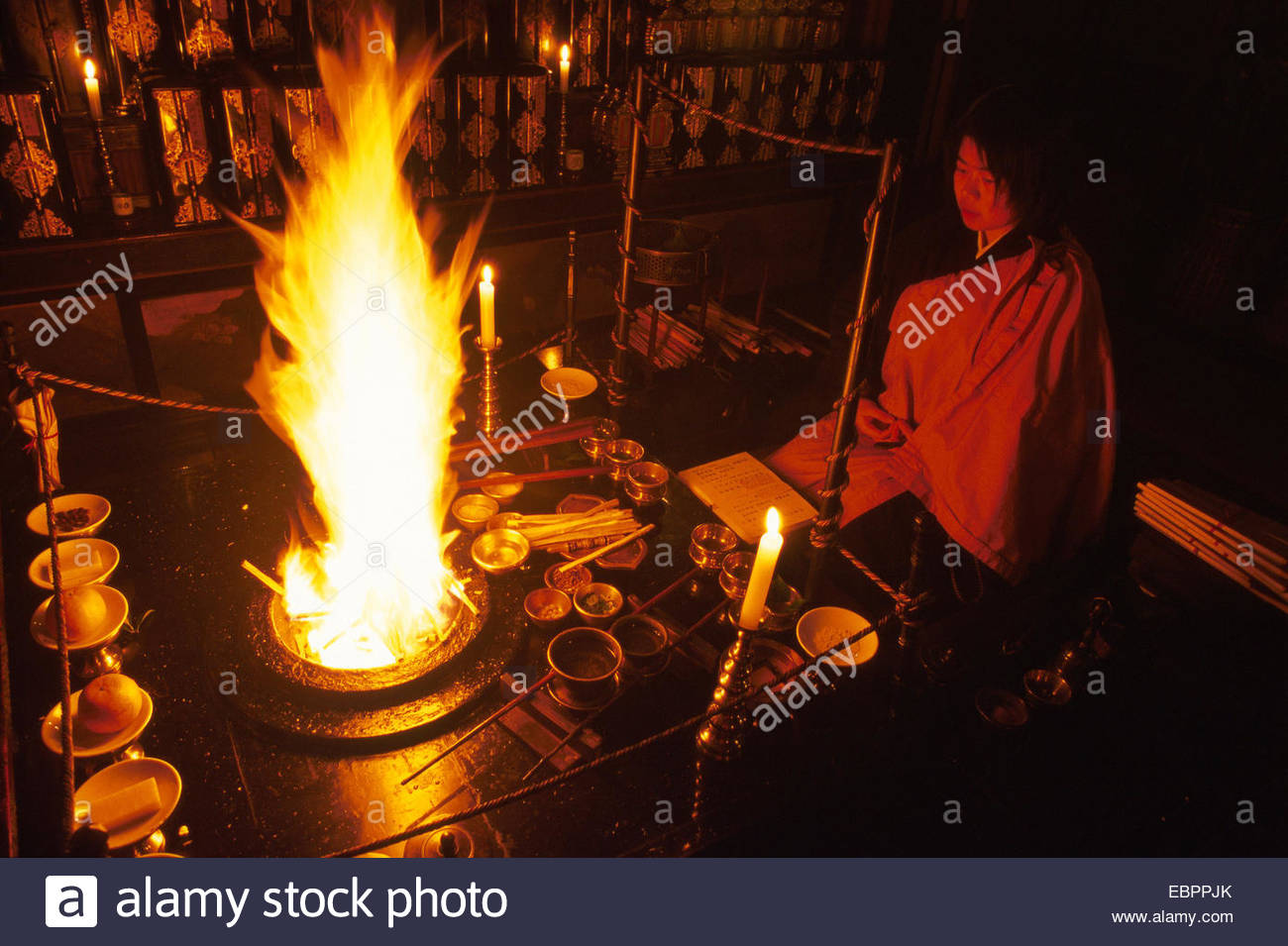 Koya San. Goma ceremony inside the Muryoko In - Stock Image