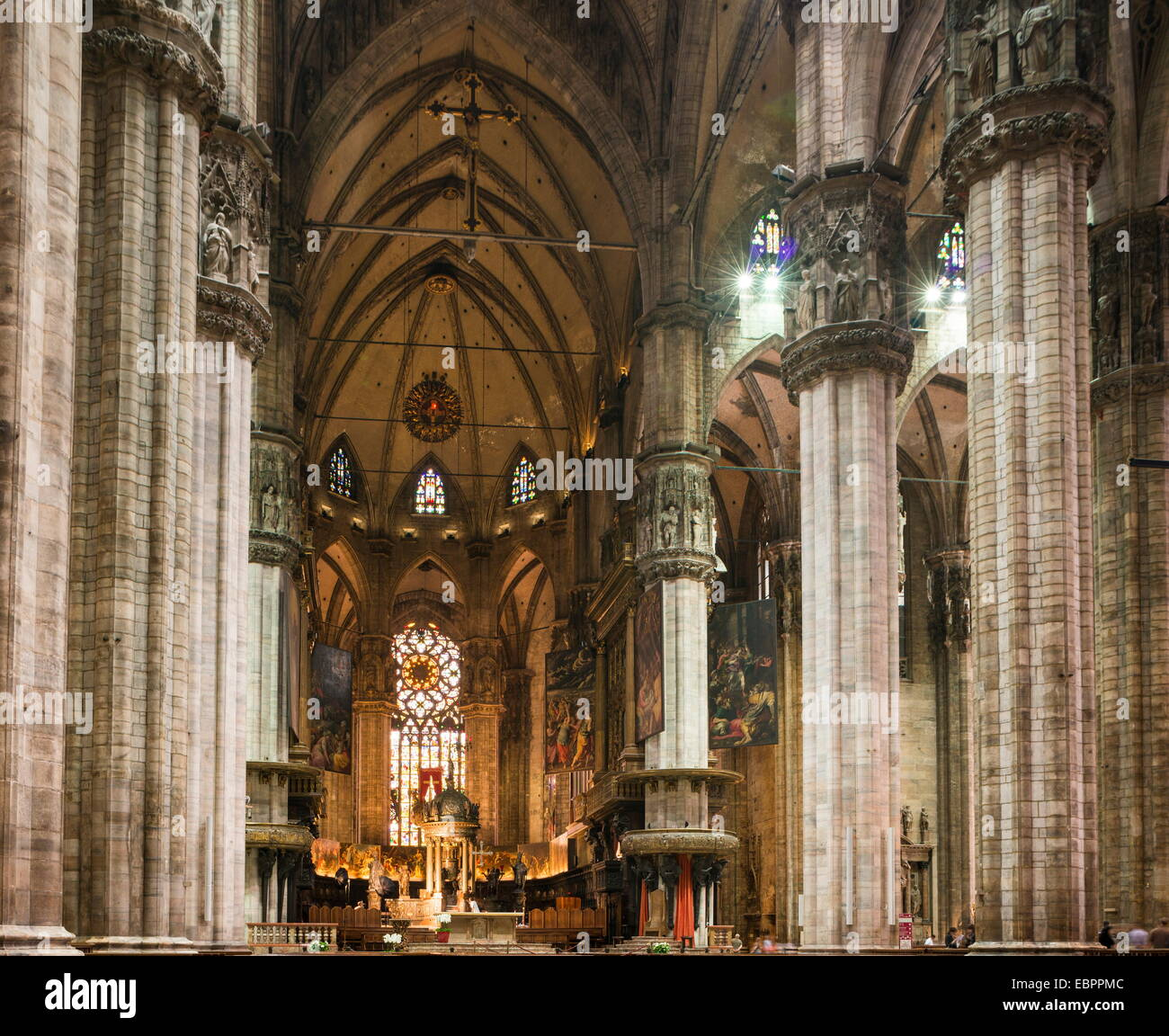Interior of Milan Cathedral, Piazza Duomo, Milan, Lombardy, Italy, Europe - Stock Image