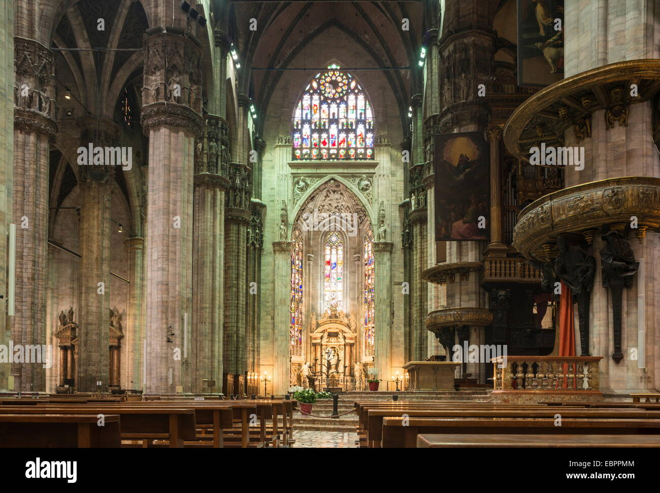 Interior of Milan Cathedral, Piazza Duomo, Milan, Lombardy, Italy, Europe Stock Photo