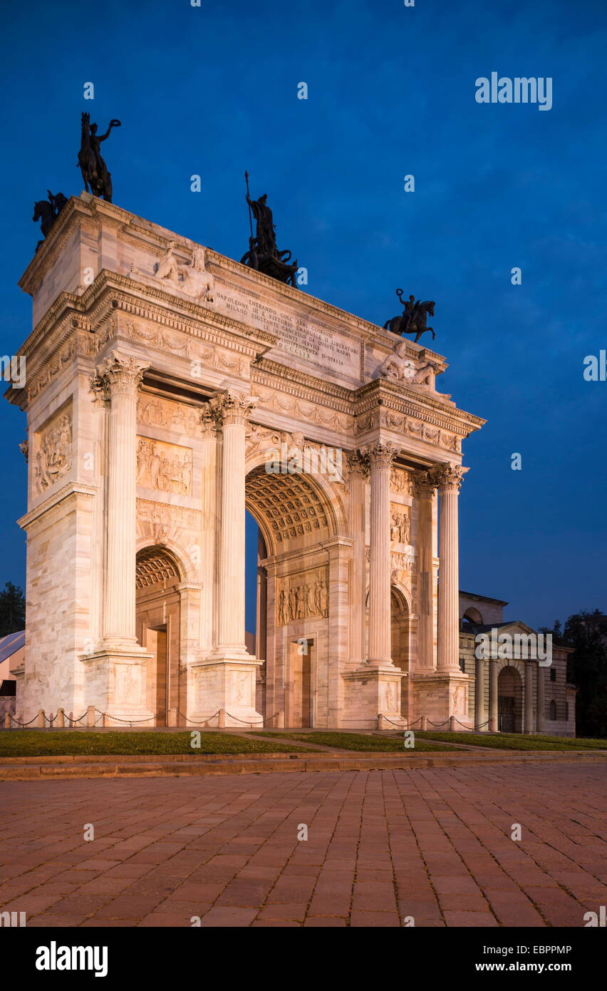 Arch of Peace at night, Piazza Sempione, Milan, Lombardy, Italy, Europe Stock Photo