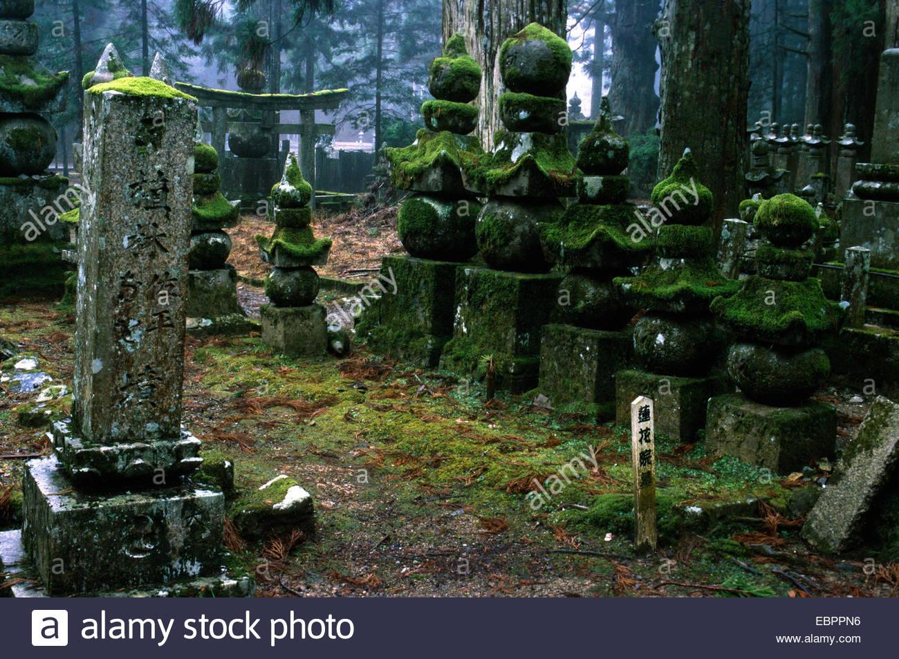 Koya San. Tombstones inside the great Necropolis 17/129323 - Stock Image