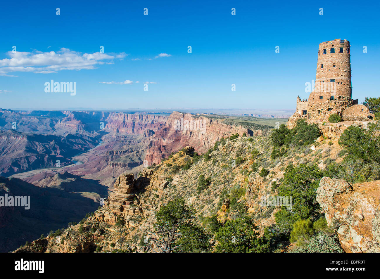 Desert view stone tower on top of the south rim of the Grand Canyon, UNESCO World Heritage Site, Arizona, USA - Stock Image