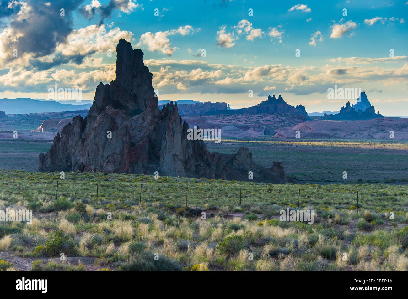 Rock formations in the late daylight near Monument Valley, Arizona, United States of America, North America - Stock Image