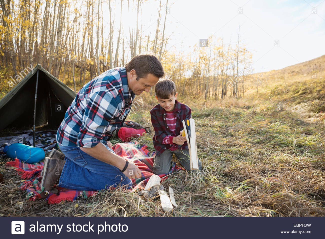 Father and son splitting firewood at campsite - Stock Image