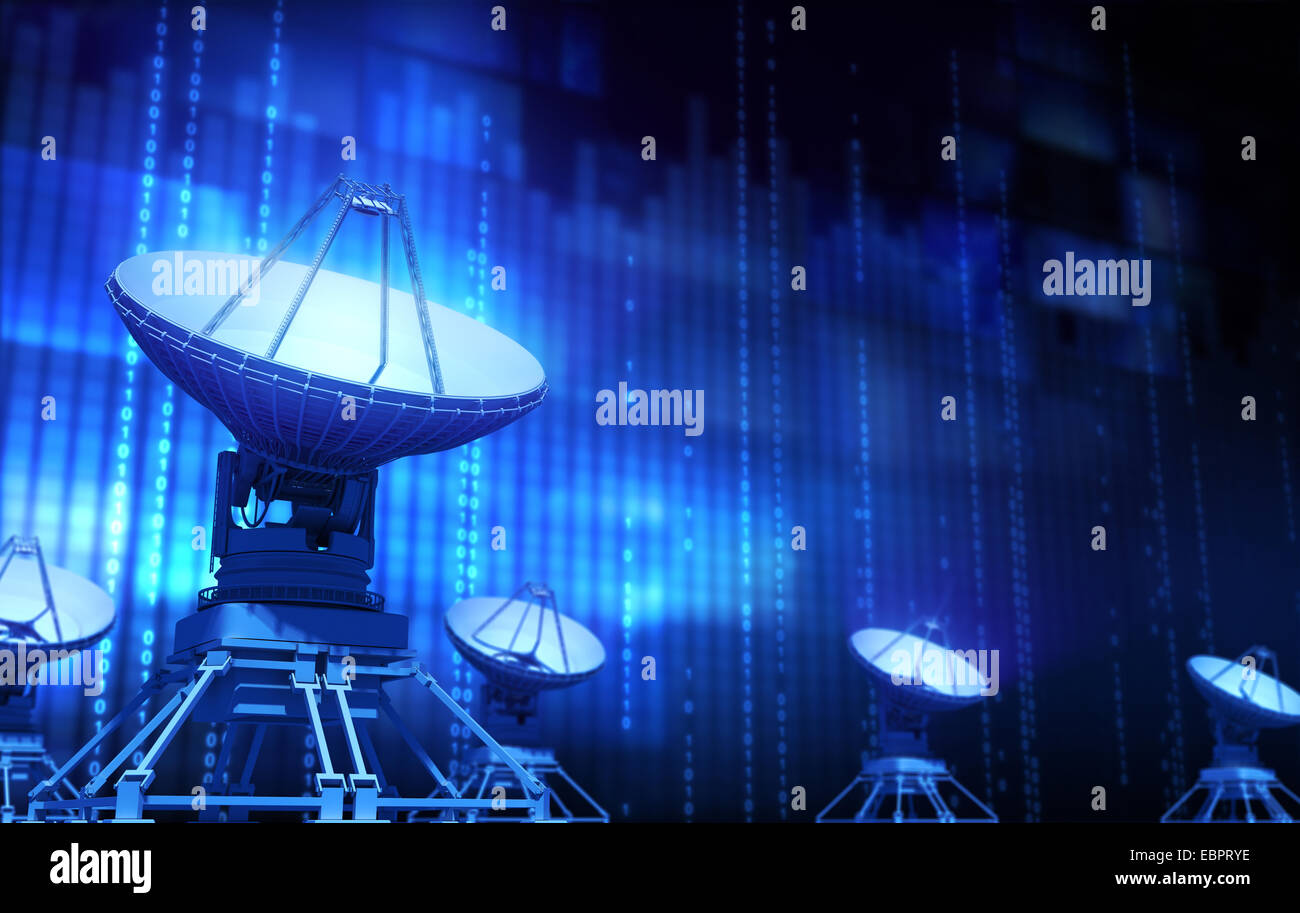 Satellite dishes, coding and monitors. - Stock Image