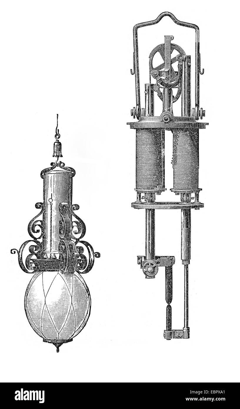 Vintage arc lamp and its regulator - Stock Image