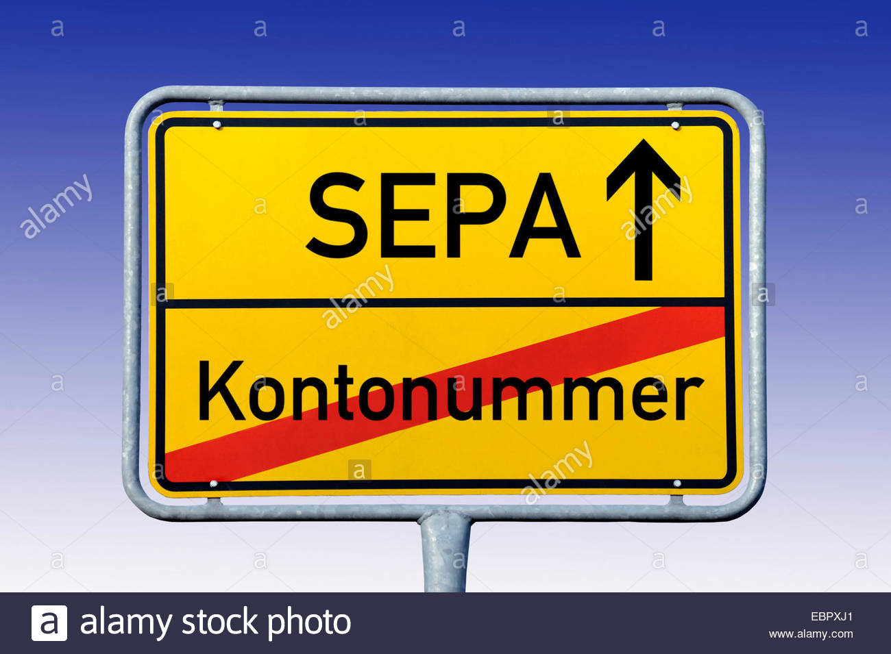 city limits signs with label SEPA, and Kontonummer, Germany - Stock Image