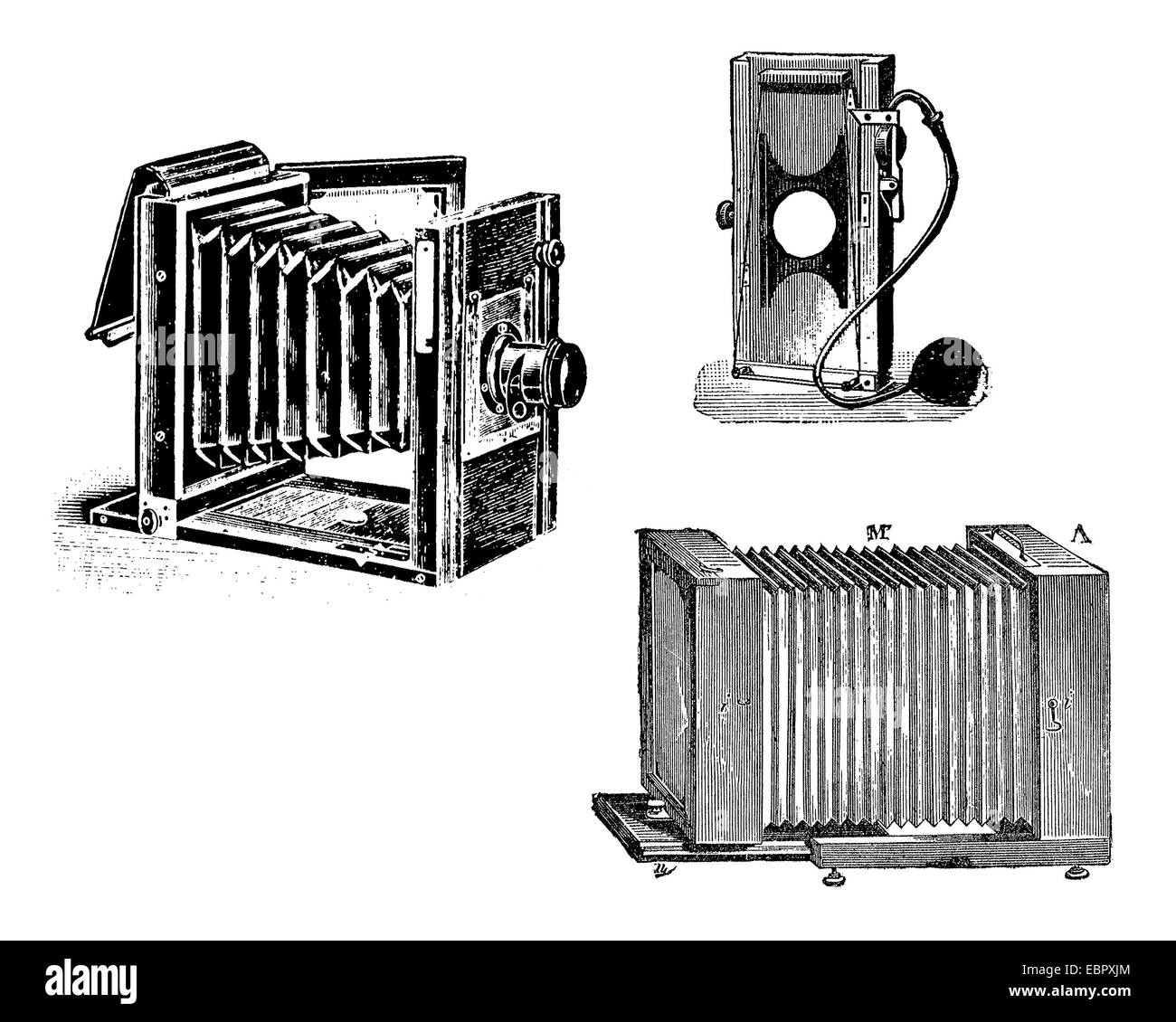 Early bellow camera,black and white engraving - Stock Image