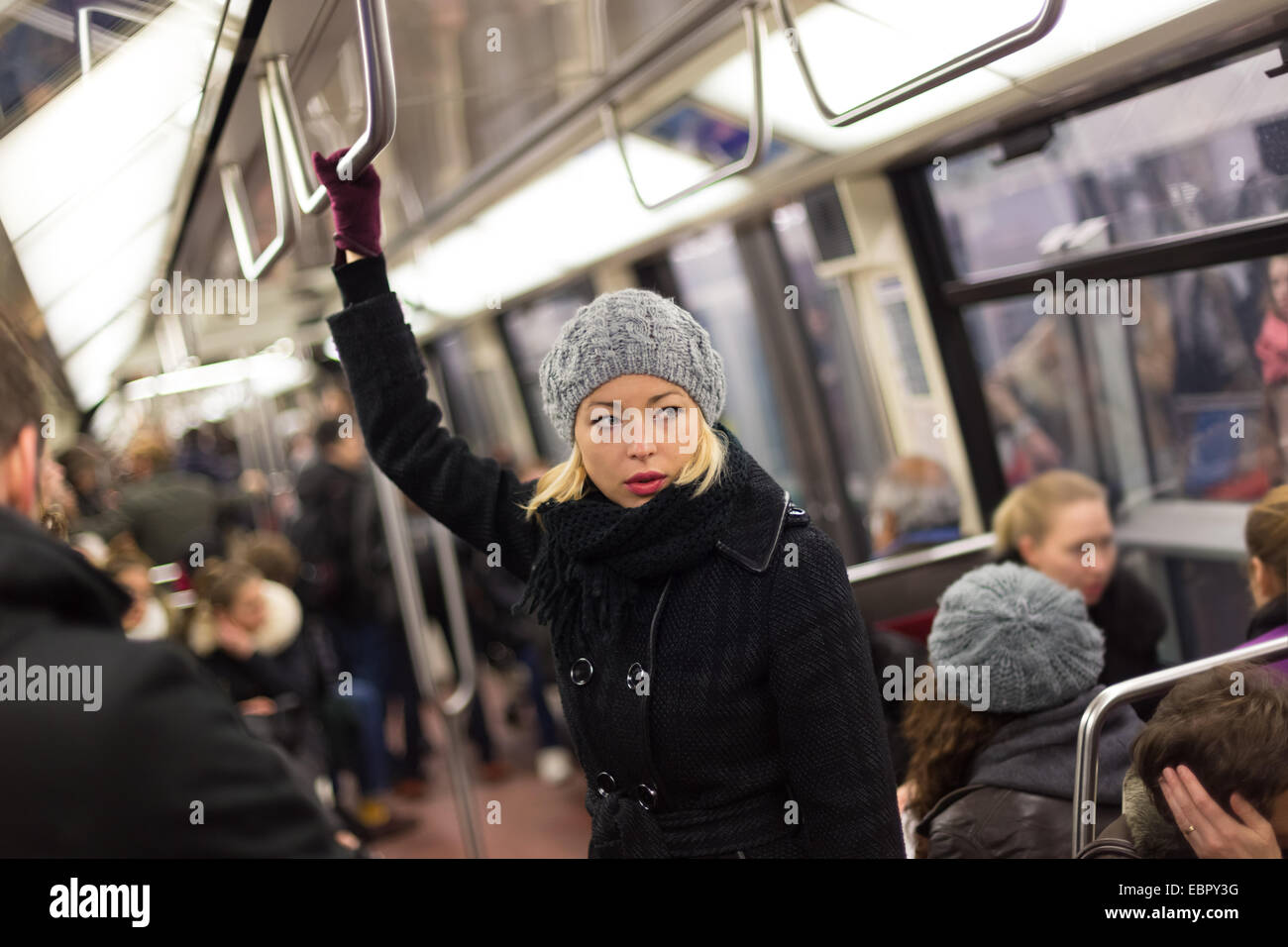 Woman on subway. - Stock Image