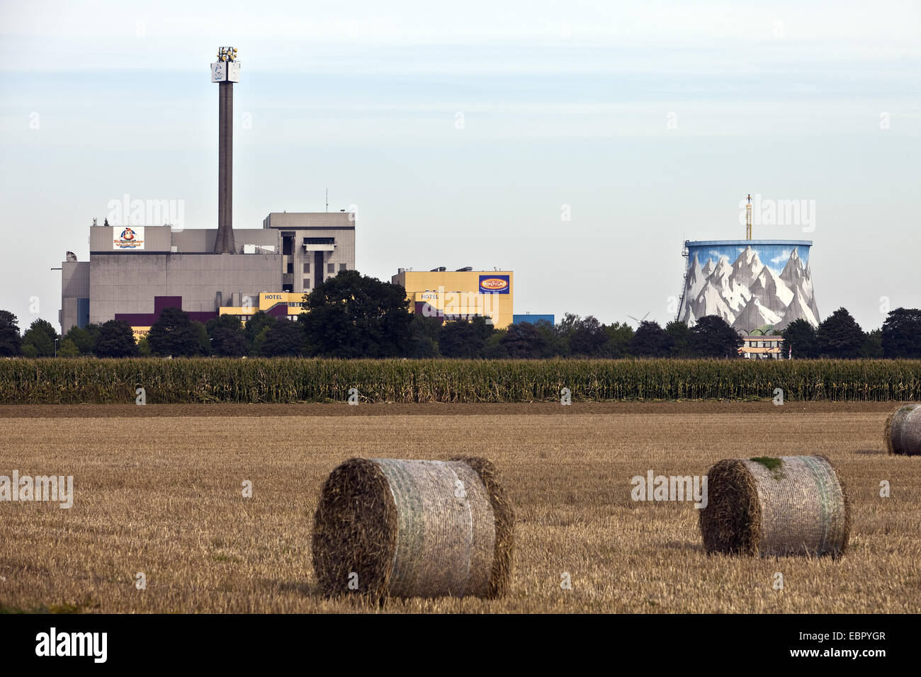 bales of stray on stubble field, former nuclear reactor in background, Germany, North Rhine-Westphalia, Kalkar - Stock Image