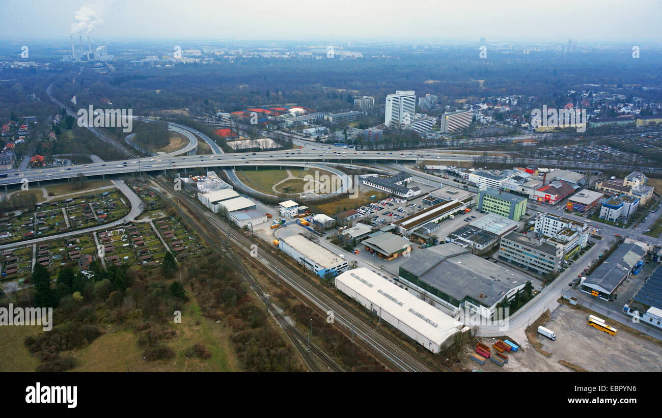 aerial view to intersection motorway Munich-Nuremberg A8 / Frankfurter Ring (Tatzelwurm), 1.3.2014, Germany, Bavaria, - Stock Image