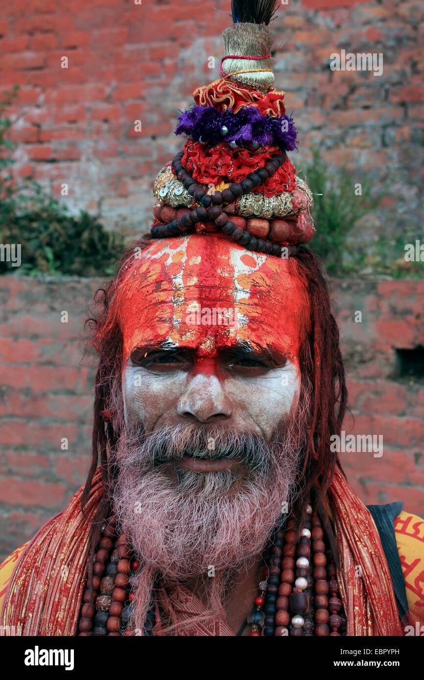 sadhu portrait, Nepal, Kathmandu, Pashupatinath Stock Photo